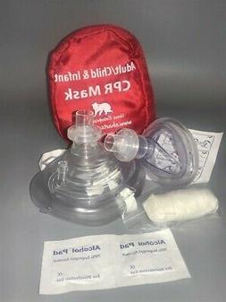 CPR mask in Soft case w/Gloves - Adult/Child and Separate Ma