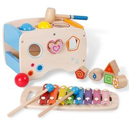 3 in 1 Wooden Educational Set Slide out Xylophone and Poundi