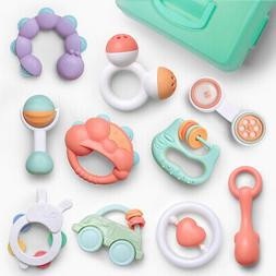 10pcs Baby Rattles Teether Shaker Grab and Spin Rattle Music