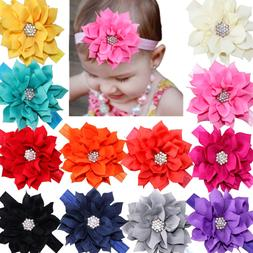 12Lot Baby Headbands Flower Hairbands Hair Bows with Rhinest