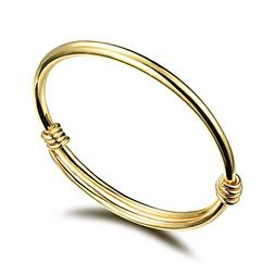 Fate Love 18k Gold Plated Golden Baby Bangle Bracelet with S