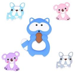 1PC animal Silicone Teether Beads for Baby Teething Pendant