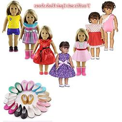 "FLETA 8in 1set Lots Doll Clothes for 18"" Dolls American Girl"