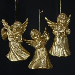 24 Gold Glitter Angel Holding A Musical Instrument Christmas