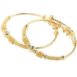 loyoe jewelry 24k Yellow Gold Plated Baby's Bracelet Adjusta