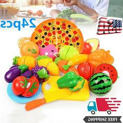 24PCS Kids Pretend Play Plastic Cutting Fruits and Vegetable