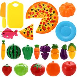 24Pcs Pizza Fruit Vegetables Food Cutting Toy Pretend Play T