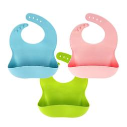 3 Pack Silicone Baby Bib for Babies  Toddlers , Waterproof,