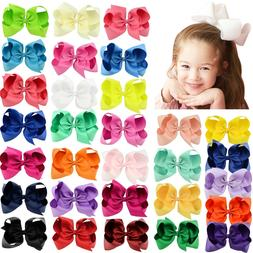 30pcs 6in Big Grosgrain Ribbon Hair Bows Clips for Baby Girl