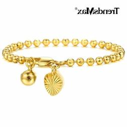 3mm Bracelet for Baby Kids Yellow Gold Filled Bead Link Hear