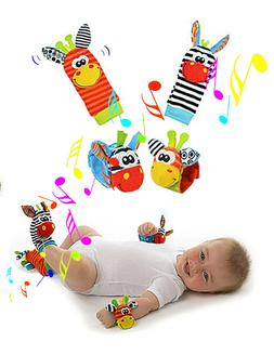 4 PCS Foot Finders & Wrist Rattles for Babies Infant Toy Soc