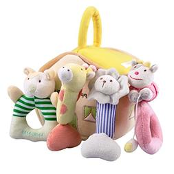 iPlay, iLearn 4 Plush Baby Soft Rattles Set, Developmental T