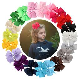 "40Pc Boutique Pinwheel 3"" Hair Bows Alligator Clip For Babie"