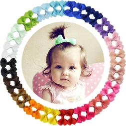 40pcs Boutique 2 Inch Hair Bows Fully Lined Clips for Baby G