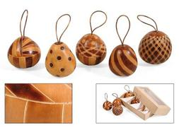 5 Christmas Tree Ornaments Hand Carved Gourd Holiday