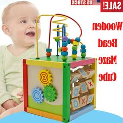 5 in 1 Wooden Bead Maze Activity Cube Educational Toys for B