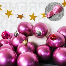 """50 Pink Metallic Balloons Chrome Shiny Latex 12"""" Thicken For"""