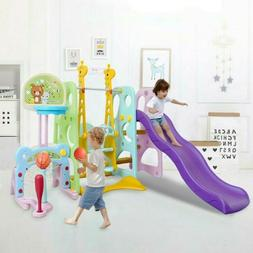 6 in 1 Climber Slide Playset Baby Swing Kids Playset For Bac
