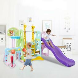 6 in1 Climber Slide Playset Baby Swing,Kids Playset For Back