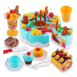 75Pcs DIY Cutting Fruit Birthday Cake Food Play Toy Set For