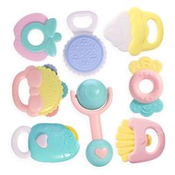 8pcs Baby Rattles and Teethers,Gift for 0, 3, 6, 9, 12 Month
