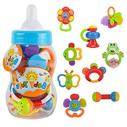 9pcs Baby Rattles Christmas Gift Set Baby's First Teether To