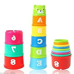 9Pcs Stacking Cups Early Educational Toddlers Toy Bathtub To