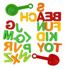 ABC Alphabet Beach Sand Mold Toy Set for Kids with 26 Letter