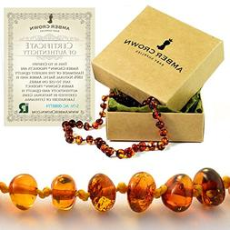 Amber Crown Teething Necklace for Babies, Greenish