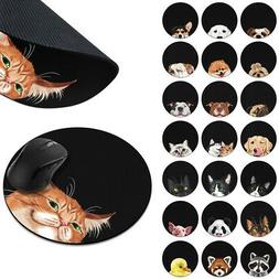 Animal Design Circle Mouse Pad Mice Mat Non-Slip Rubber For