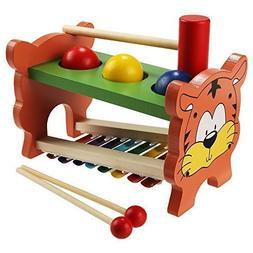 Arshiner Wooden Toys Pound And Tap,Tap Bench with Slide out