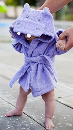 Baby Steps, The Best Purple Hippo Hooded Bathrobe & Towel, 0