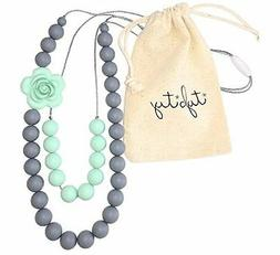 Baby Teething Necklace for Mom, Silicone Teething Beads, BPA