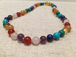 Baltic Essentials 12.5 inch Baltic Amber Necklace Rainbow Ho