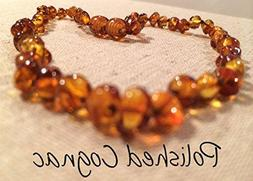 Baltic Essentials Amber Teething Necklace for Babies Cognac