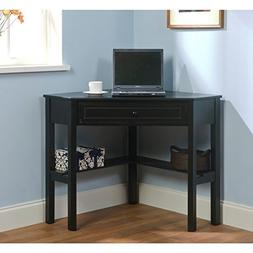 Black Wood Corner Computer Desk with Drawer Makes a Workspac