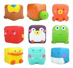 Cartoon Rubber Animal Bath Toys Squeeze and Stack Blocks Wat