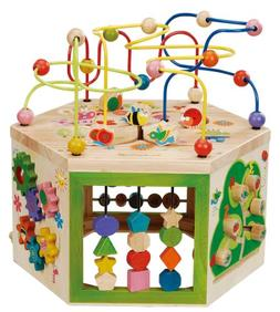 EverEarth Garden Activity Cube. Wood Shape & Color Sorter, B