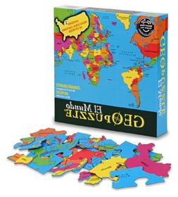 GeoToys GeoPuzzle World  - Educational Geography Game - Map