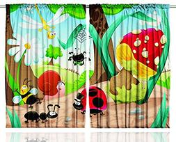 Girls Curtains Baby Shower Decor by Ambesonne, Cute Jungle L