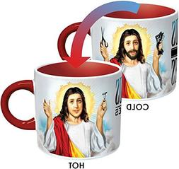 Jesus Shaves Disappearing Coffee Mug - Add Hot Water and Jes