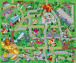 """Large """"My Town"""" Play Mat with Airport, Town, Train Tracks an"""
