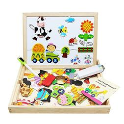 Lewo Wooden Kids Educational Toys Magnetic Easel Double Side