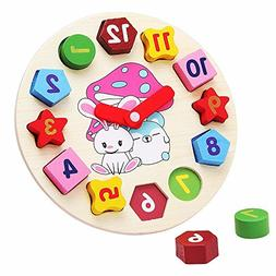 Little star Wooden blocks toys Digital Geometry Clock Childr