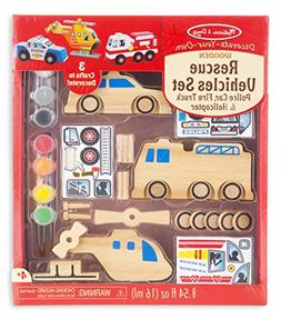 Melissa & Doug Decorate-Your-Own Wooden Rescue Vehicles Craf