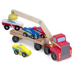 Melissa & Doug Magnetic Car Loader Wooden Toy Set, Cars & Tr