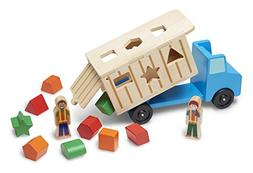 Melissa & Doug Shape-Sorting Wooden Dump Truck Toy With 9 Co