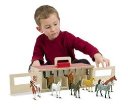 Melissa & Doug Take-Along Show-Horse Stable Play Set, Preten