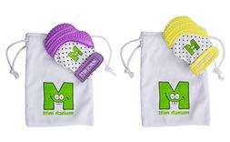 Munch Mitt Baby Teethers - Purple and Yellow - Set of 2