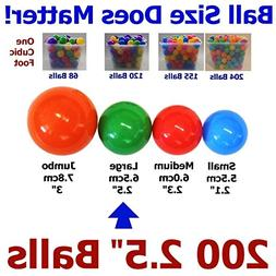 "My Balls Pack of 200 Large 2.5"" 65mm Ball Pit Balls in 5 Bri"